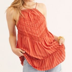 Free People Flowy Tank Top Embroidered Detail